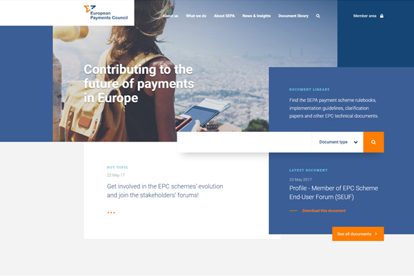 Homepage of the EPC website