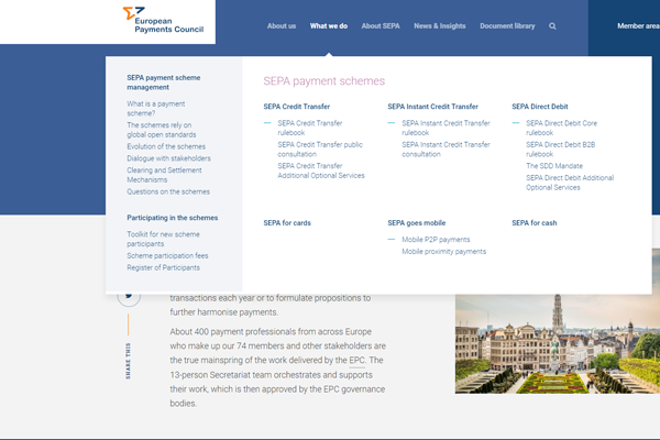 Navigation on the EPC website